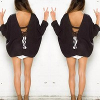 Black Plain Oversized Backless Bandage Tie Back V-neck Plus Size Casual Pullover Sweater