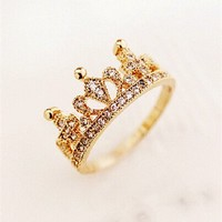 MP Rhodium Plated Cute Crown Golden Ring Size US 5