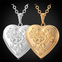Memory Photo Locket For Women Rose Flower Heart Pendant Gold Plated Charms Necklace Jewelry Valentine's Day Gift P204