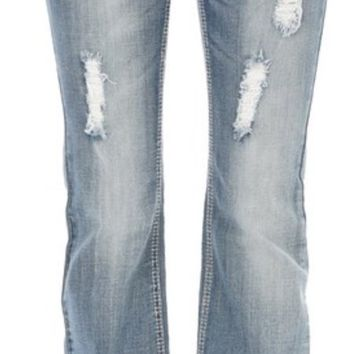 Light Wash Embellished Pocket Bootcut Jean