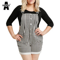 ACHIEWELL Plus Size Summer Casual Women Suspender Shorts White Black Striped Single Button Fashion Women Overalls 5XL