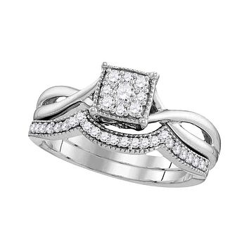10k White Gold Women's Diamond Flower Cluster Wedding Ring Set - FREE Shipping (US/CA)