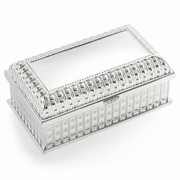Silver-plated Hinged Lid Rectangle Jewelry Box - Engravable Gift Item