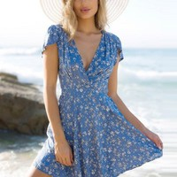 Floral Printed V Neck Short Sleeve A-line Mini Dress - NOVASHE.com