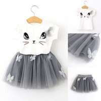 Cute Blushing Cat Tutu Dress