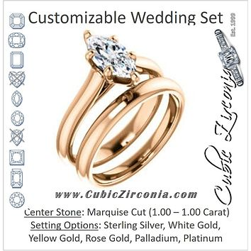 CZ Wedding Set, featuring The Tawanda engagement ring (Customizable Marquise Cut Cathedral Setting with Peekaboo Accents)