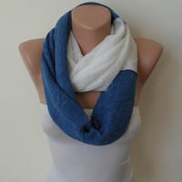 Soft Tricot Fabric Infinty - Blue and White - Cowl - Loop Scarf by Umbrella Design