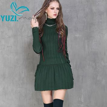 Winter Dress Casual New Cotton Skinny Women Dresses Turtleneck Long Sleeve Pleated