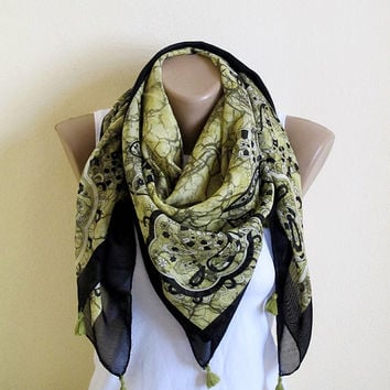 Green Scarf, Spring Scarf, Cotton Scarf, Cowl tasseled scarf, Women's Fashion Accessories, on sale scarf, scarves