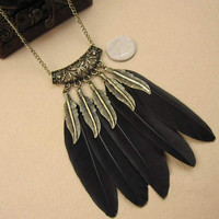 Bohemian Indian Style Feather Pendant Necklace