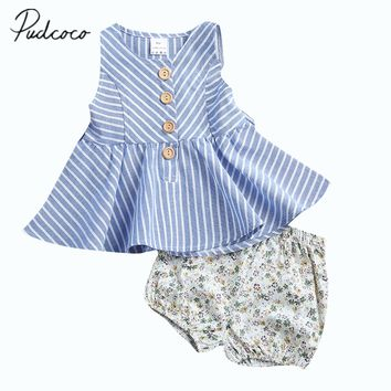 Pudcoco 2017 Summer Infant Toddler Baby Girl Striped Sleeveless Dress Tops+Floral Shorts 2PCS Set Clothes 0-4Y