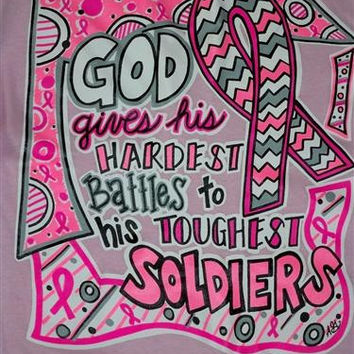Southern Chics Funny God Gives Battles Breast Cancer Chevron Pink Ribbon Girlie Bright T Shirt