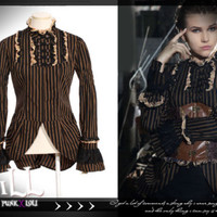 steampunk revolution victorian craft guild shirring striped Blouse top SP106 C