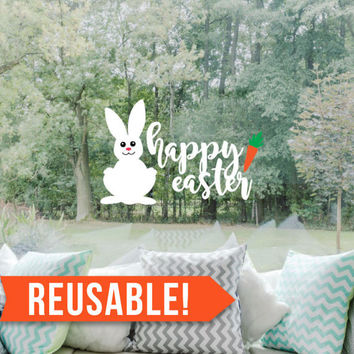 Happy Easter - Easter Decorations - Easter Bunny - Spring Decor -  Window Cling - Reusable Wall Decals - Window Decals - Window Clings