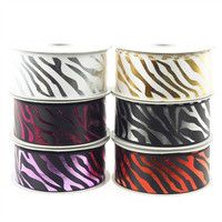 Metallic Zebra Stripe in Satin Ribbon, 1-1/2-inch, 10-yard