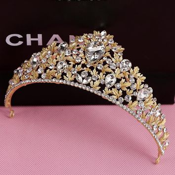 Gold Color Hair Accessories Rhinestone Crystal Wedding Bridal Birthday Party Prom Pageant Tiaras Crown For Bride Hair Jewelry