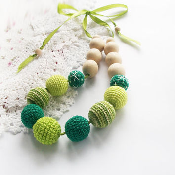Lime green acid green  Breastfeeding Necklac   on the ribbon /Crochet Necklace / teether / Nursing / Boho /Eco-friendly jewellry