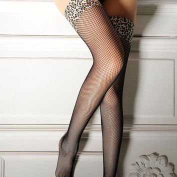 High Quality Mesh Leopard Over Knee Stockings Sexy Fishnet Tights Nightclub Thigh High Stockings