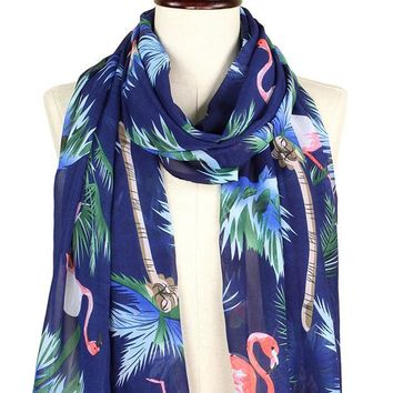 Tropical Flamingo Print Scarf in Navy Blue