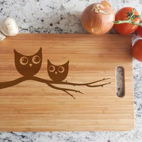ikb189 Personalized Cutting Board Wood funny cute bird owl branch restaurant kitchen