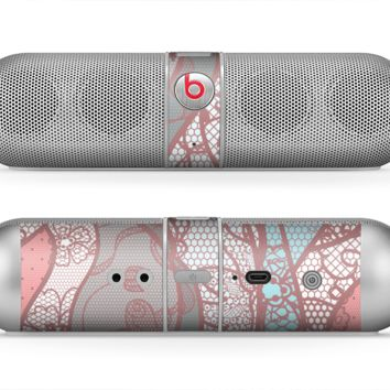 The Pink & Teal Lace Design Skin for the Beats by Dre Pill Bluetooth Speaker
