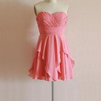A-line Sweetheart Neck Ruched Embellished Strapless Mini Length Coral Chiffon Bridesmaid Dresses,Short Wedding Party Dresses