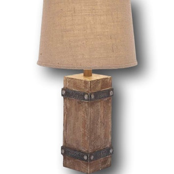 Rustic Distressed Wood Table Lamp