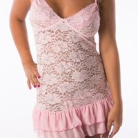Hot pink sexy chemise womens lingerie