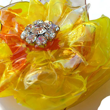 Daffodil Yellow Plastic Bottle Flower with Sparkling Rhinestone Center, Bridal Pin, Wedding Brooch or Magnet, Hand Painted Art Jewelry