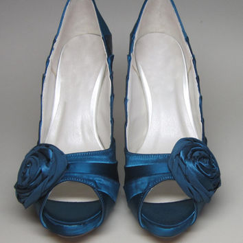 Blue Wedding Shoes -- Dark Turquoise Peeptoes with Matching Rosette Adornment