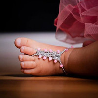 Baby Barefoot Sandals Foot Jewelry YOU DESIGN THEM Photo Prop Anklet Toe Ring Soleless Thongs