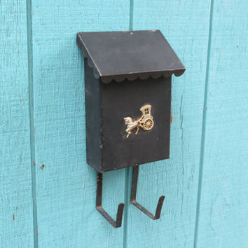 Vintage Mailbox . Metal Wall Mount With Newspaper Rack . Black with Gold Horse & Buggy . Mid Century Mail Box Circa 1950s