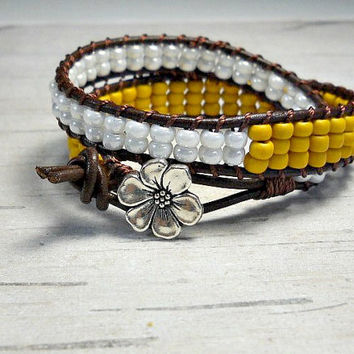 Mustard Double Wrap Bracelet, Double Wrap, Wrap Around, Stackable Bracelet, Womens Bracelet