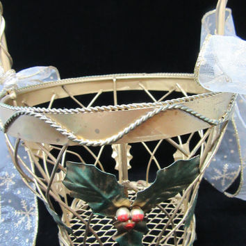 Vintage Gold Wire Christmas Basket-Holly-Berries Accent-White Bows-Christmas Decor-Holiday Decor-Country Decor-Cottage Chic-Gift-Storage