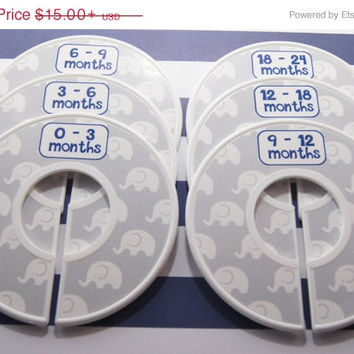 ON SALE Custom Closet Dividers Gray Nursery Elephant Nursery Navy Nursery Baby Shower Gift Closet Organizer FINISHED Product Cd295C