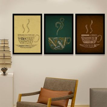 Retro-Modern Style Coffee Typography Art Posters