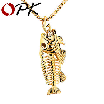 Mens Fish Bone & Fishing Hook Pendant Necklace