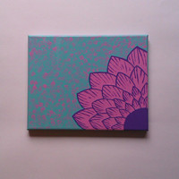 Pink flower acrylic canvas painting for girls room