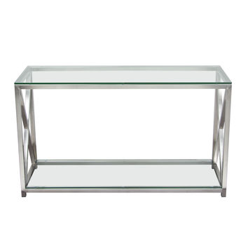X-Factor Console Table with Clear Glass Top & Shelf with Brushed Stainless Steel Frame