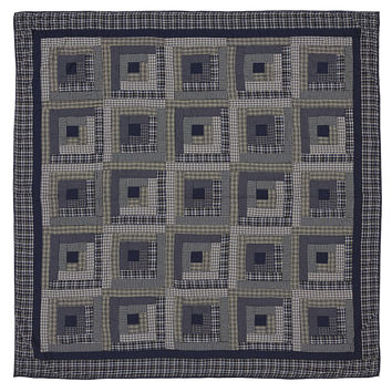 Columbus - King - Patchwork Quilt -  Country Blue - Traditional Log Cabin Patches - Ashton & Willow