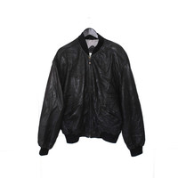mens vtg black leather bomber jacket 80s RETROgenuine leather minimalist letterman jacket medium