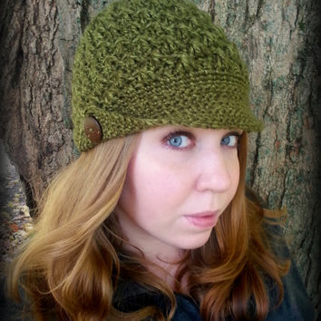Crochet Beanie with Brim, Brimmed Hat, Peaked Cap, Hat with Brim
