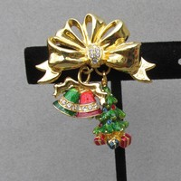Christmas Pin Vintage Christopher RADKO Rhinestone Bow Dangle Bells & Tree Charms Pin
