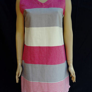 Women's unique cherry burgundy and gray striped soft Turkish cotton summer sleeveless slip dress, summer tunic, beach dress.