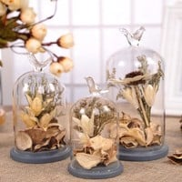 Creative Artificial Dried Flowers with Vivid Birds Terrarium Vase
