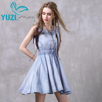 Summer Dress New Denim O-Neck Sleeveless A-line Elastic Waist Sundress Women Dresses