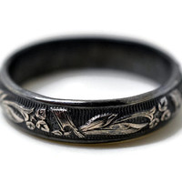Black Wedding Ring, Oxidized Silver Ring, Men's Wedding Band, Blackened Silver, Leafy Floral Band