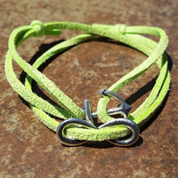 Green Leather Silver Anchor Infinity Bracelet Anklet Charm Men Women Unisex Fashion New Love Cute Diy Friendship