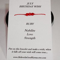 July Birthday Wish Bracelet or Anklet - Ruby - Happy Birthday Gift