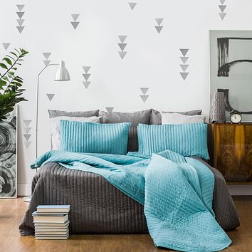 36 Large Silver  Metallic Triangle Wall Decals